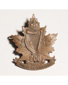 "208th Infantry Battalion ""Canadian Irish"" Cap Badge CEF"